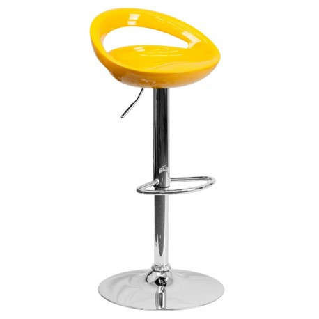MFO Contemporary Yellow Plastic Adjustable Height Bar Stool with Chrome Base
