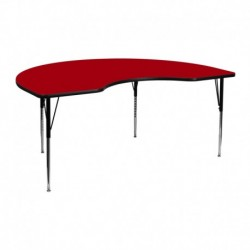 MFO 48''W x 72''L Kidney Shaped Activity Table with Red Thermal Fused Laminate Top and Standard Height Adjustable Legs