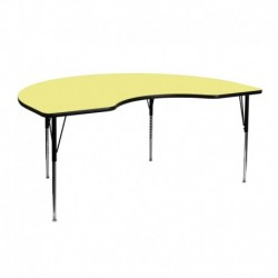 MFO 48''W x 72''L Kidney Shaped Activity Table with Yellow Thermal Fused Laminate Top and Standard Height Adjustable Legs