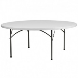 MFO 72'' Round Granite White Plastic Folding Table