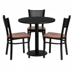 MFO 30'' Round Black Laminate Table Set with 3 Grid Back Metal Chairs - Cherry Wood Seat