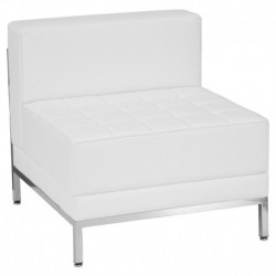 MFO Immaculate Collection Contemporary White Leather Middle Chair