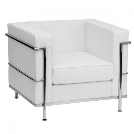 MFO Pristine Collection Contemporary White Leather Chair with Encasing Frame
