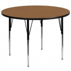 MFO 60'' Round Activity Table with Oak Thermal Fused Laminate Top and Standard Height Adjustable Legs