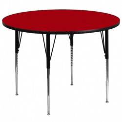 MFO 60'' Round Activity Table with Red Thermal Fused Laminate Top and Standard Height Adjustable Legs