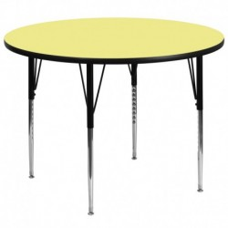 MFO 60'' Round Activity Table with Yellow Thermal Fused Laminate Top and Standard Height Adjustable Legs
