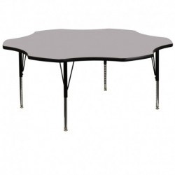 MFO 60'' Flower Shaped Activity Table with Grey Thermal Fused Laminate Top and Height Adjustable Pre-School Legs