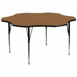 MFO 60'' Flower Shaped Activity Table with Oak Thermal Fused Laminate Top and Standard Height Adjustable Legs