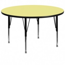 MFO 60'' Round Activity Table with Yellow Thermal Fused Laminate Top and Height Adjustable Pre-School Legs