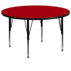 MFO 60'' Round Activity Table with Red Thermal Fused Laminate Top and Height Adjustable Pre-School Legs