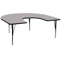 MFO 60''W x 66''L Horseshoe Activity Table with Grey Thermal Fused Laminate Top and Height Adjustable Pre-School Legs