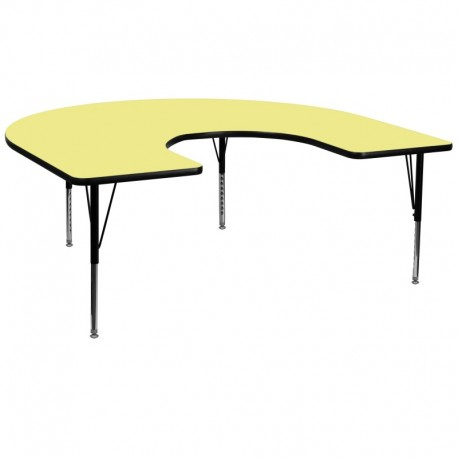 MFO 60''W x 66''L Horseshoe Activity Table with Yellow Thermal Fused Laminate Top and Height Adjustable Pre-School Legs