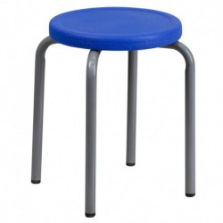 MFO Stackable Stool with Blue Seat and Silver Powder Coated Frame