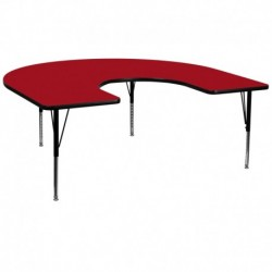 MFO 60''W x 66''L Horseshoe Activity Table with Red Thermal Fused Laminate Top and Height Adjustable Pre-School Legs