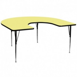 MFO 60''W x 66''L Horseshoe Activity Table with Yellow Thermal Fused Laminate Top and Standard Height Adjustable Legs