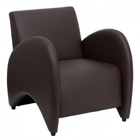 MFO Recurve Collection Brown Leather Reception Chair