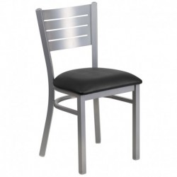 MFO Silver Slat Back Metal Restaurant Chair - Black Vinyl Seat