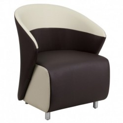 MFO Dark Brown Leather Reception Chair with Beige Detailing
