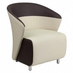 MFO Beige Leather Reception Chair with Dark Brown Detailing