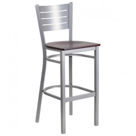 MFO Silver Slat Back Metal Restaurant Barstool - Mahogany Wood Seat