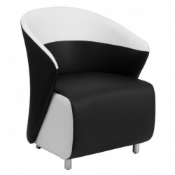 MFO Black Leather Reception Chair with White Detailing
