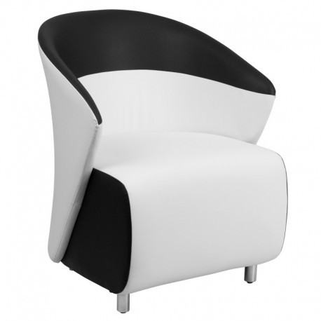 MFO White Leather Reception Chair with Black Detailing
