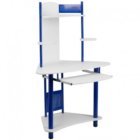 MFO Blue Corner Computer Desk with Hutch