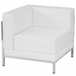 MFO Immaculate Collection Contemporary White Leather Left Corner Chair with Encasing Frame