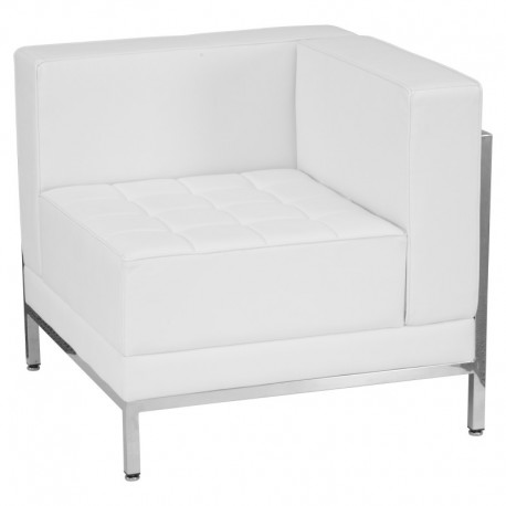 MFO Immaculate Collection Contemporary White Leather Right Corner Chair with Encasing Frame