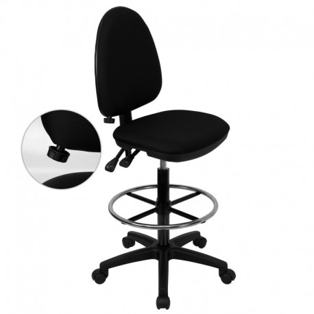 MFO Mid-Back Black Fabric Multi-Functional Drafting Stool with Adjustable Lumbar Support
