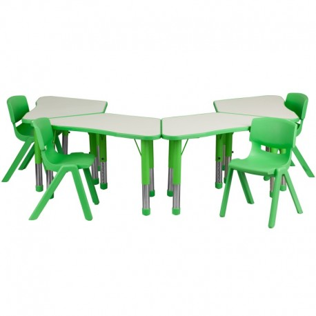 MFO Green Trapezoid Plastic Activity Table Configuration with 4 School Stack Chairs
