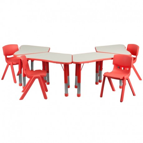MFO Red Trapezoid Plastic Activity Table Configuration with 4 School Stack Chairs