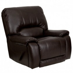 MFO Plush Brown Leather Lever Rocker Recliner