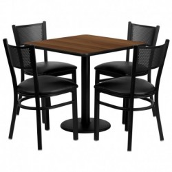 MFO 30'' Square Walnut Laminate Table Set with 4 Grid Back Metal Chairs - Black Vinyl Seat