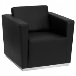 MFO Debonair Collection Contemporary Black Leather Chair with Stainless Steel Base