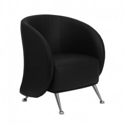 MFO Flight Collection Black Leather Reception Chair