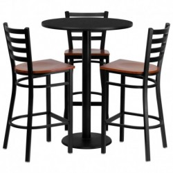 MFO 30'' Round Black Laminate Table Set with 3 Ladder Back Metal Bar Stools - Cherry Wood Seat