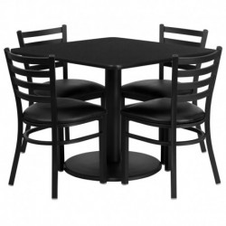 MFO 36'' Square Black Laminate Table Set with 4 Ladder Back Metal Chairs - Black Vinyl Seat