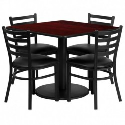 MFO 36'' Square Mahogany Laminate Table Set with 4 Ladder Back Metal Chairs - Black Vinyl Seat