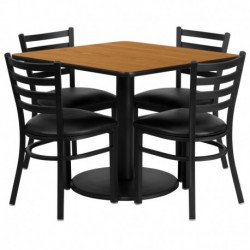 MFO 36'' Square Natural Laminate Table Set with 4 Ladder Back Metal Chairs - Black Vinyl Seat
