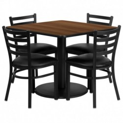 MFO 36'' Square Walnut Laminate Table Set with 4 Ladder Back Metal Chairs - Black Vinyl Seat