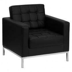 MFO Chimera Collection Contemporary Black Leather Chair with Stainless Steel Frame