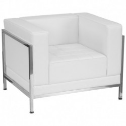 MFO Immaculate Collection Contemporary White Leather Chair with Encasing Frame