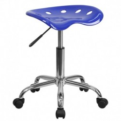 MFO Vibrant Nautical Blue Tractor Seat and Chrome Stool