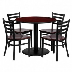 MFO 36'' Round Mahogany Laminate Table Set with 4 Ladder Back Metal Chairs - Mahogany Wood Seat