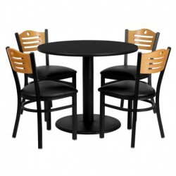MFO 36'' Round Black Laminate Table Set with 4 Wood Slat Back Metal Chairs - Black Vinyl Seat