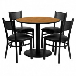 MFO 36'' Round Natural Laminate Table Set with 4 Grid Back Metal Chairs - Black Vinyl Seat