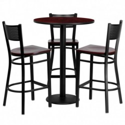 MFO 30'' Round Mahogany Laminate Table Set with 3 Grid Back Metal Bar Stools - Mahogany Wood Seat