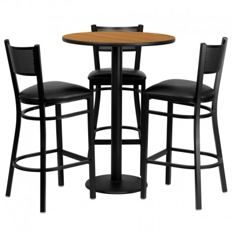 MFO 30'' Round Natural Laminate Table Set with 3 Grid Back Metal Bar Stools - Black Vinyl Seat