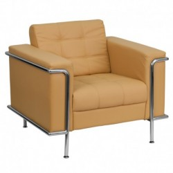 MFO Sophia Collection Contemporary Light Brown Leather Chair with Encasing Frame